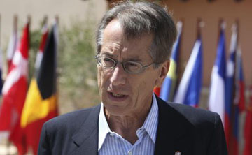 Italy's Minister for Foreign Affairs Giulio Terzi speaks to the press during the Gymnich, Informal Meeting of Ministers for Foreign Affairs on September 7, 2012 in Paphos.  AFP PHOTO/YIANNIS KOURTOGLOU        (Photo credit should read Yiannis Kourtoglou/AFP/GettyImages)