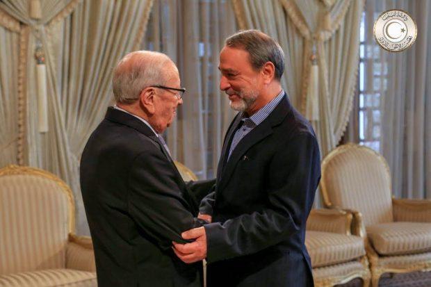 السويحلي يلتقي رئيس الجمهورية في اخر زيارة له الى تونس