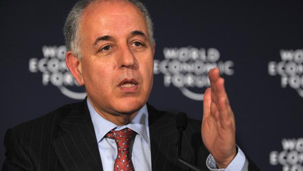 Mustapha Kamel Nabli, Governor of the Central Bank of Tunisia, who was named ten days ago, talks during a press conference at the World Economic Forum in Davos on January 29, 2011.  AFP PHOTO  ERIC PIERMONT (Photo credit should read ERIC PIERMONT/AFP/Getty Images)