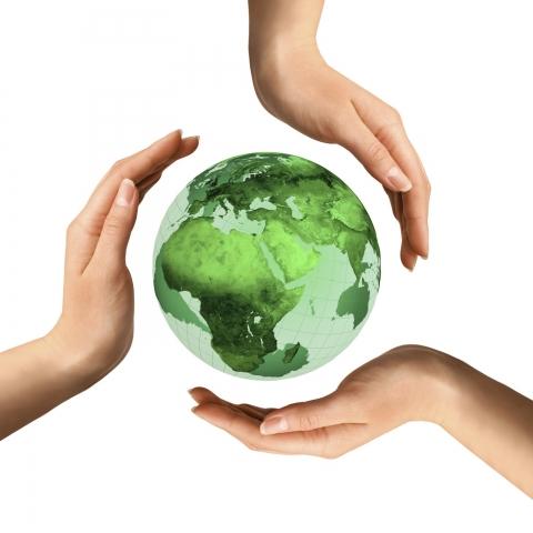 Hands around globe (3)